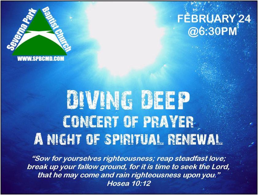 Diving Dee: Concert of Prayer (Feb 2013)