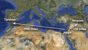 distance of tarshish and nineveh
